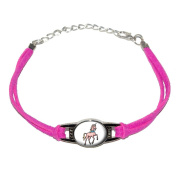 Unicorn - Novelty Suede Leather Metal Bracelet - Pink
