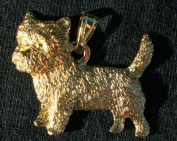 Cairn Terrier Dog 24k Gold Plated Pewter Pendant