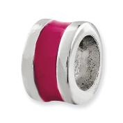 Sterling Silver Hot Pink Enamelled Spacer Enhancer Charm - JewelryWeb