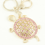 Gold Tone Pink Rhinestone Turtle Design Hook Click Keychain Keyring Charm