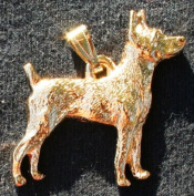 Rat Terrier Dog 24k Gold Plated Pewter Pendant