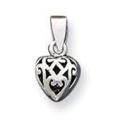 Sterling Silver Antique Puff Heart Charm