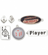 Blue Moon Tokens Metal Charms, 6/Pkg, Antique Silver Vegas