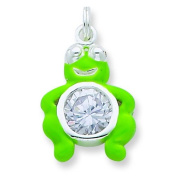 Sterling Silver CZ Green Enamelled Polished Frog Charm. Metal Weight- 3.75g.