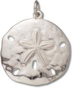 Sterling Silver High Polish Medium Sand Dollar Charm with Split Ring - Item #3355