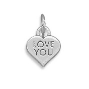 LOVE YOU Small Heart Charm Sterling Silver, Made in the USA
