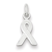 Sterling Silver White Enamelled Awareness Charm - JewelryWeb