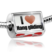 Bead with Hearts I Love Hang gliding - Charm Fit All European Bracelets , Neonblond