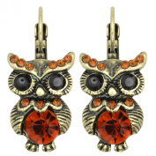 Kate Marie Vintage Earrings Owl Design Embellished with Crystal and Rhinestone