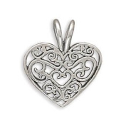 15mm Filigree Heart Charm .925 Sterling Silver