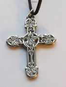 Lily Cross - Pewter Pendant - Christian, Flowers, Nature Necklace