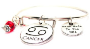 Cancer Zodiac Symbol Adjustable Wire Bangle Bracelet