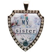 Santa Barbara Design Studio Rhinestone Bordered Shield-Shaped Jewellery Charm by Artist Sally Jean