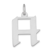 Sterling Silver Medium Artisian Block Initial H Charm - JewelryWeb