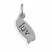 Sterling Silver Text Message Bubble Charm With Luv Measures 6mm X 17mm - JewelryWeb