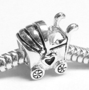Sterling Silver Lover Heart Baby Carriage Cart Bead Charm For Pandora Troll Chamilia Biagi European Jewellery