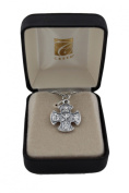 1.9cm Four 4 way Cross in Oxidised Silver on a 46cm genuine rhodium-plated chain and beautifully gift boxed