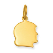 Gold-plated Small Engravable Girl's Head Charm, Best Quality Free Gift Box Satisfaction Guaranteed