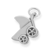 Small Baby Carriage Charm Sterling Silver, Made in the USA
