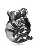 .925 Sterling Silver Loving Koala Mom & Baby bead Bead Fits Pandora, Biagi, Troll, Chamilla and Many Other European Charm #EC104