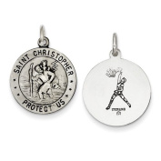 Sterling Silver St. Christopher Reversible Basketball Medal. Metal Wt- 2.25g