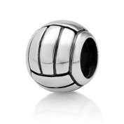 925 Sterling Silver Volleyball Bead Charm Fits Pandora Bracelet