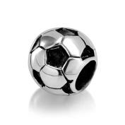 925 Sterling Silver Soccer Football Bead Charm Fits Pandora Bracelet