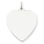 Sterling Silver Engravable Heart Disc Charm. Metal Wt- 3.19g