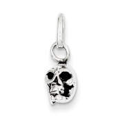 Sterling Silver Antiqued Skull Charm - JewelryWeb