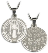 Saint Benedict Medal 2.5cm Laser Engraved Pendant with 60cm Pop Bead Chain for Necklace Making