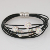 Leather Bracelet with Pave Crystal Beads and Magnetic Clasp