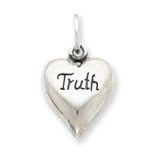 Sterling Silver Antiqued Truth Heart Pendant