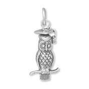 20x5mm Wise Owl Charm .925 Sterling Silver