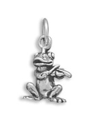 Sterling Silver Frog Playing Violin Charm Measures 13x9mm - JewelryWeb