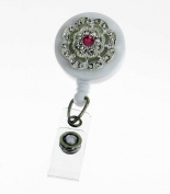 Badge Blooms ID Badge Reel - Bling on White - Pink Centre