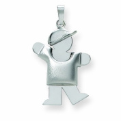 Genuine 14K White Gold Puffed Boy With Hat On Left Engravable Charm 2.5 Grammes Of Gold  .  d.