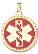 10k Yellow Gold Medical Alert ID Circle Pendant