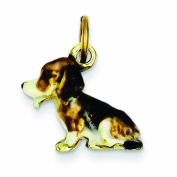 Genuine 14K Yellow Gold Enamelled Small Beagle Charm 4 Grammes Of Gold