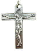 Our Lady of Grace Back 5.7cm Silver Tone Crucifix Pendant for Jewellery Making