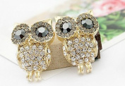 Change 3D Rhinestone Cute Owl Earring