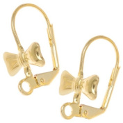Brass Leverback Earrings With Bow Tie Pad