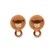 Copper Plated Pewter Stud Earrings Dome Post & Ring 8mm