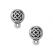 Silver Plated Pewter Stud Post Earrings Celtic Circle 11mm