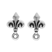Silver Plated Pewter Stud Post Earrings Fleur de Lis 14mm