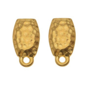 22K Gold Plated Pewter Stud Post Earrings Hammered 13.5mm 1 Pair