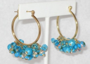 2.5cm Dia. Hook Earring with Turquoise Blue Glass Beads, Facted Beads and Cloisonne Beads