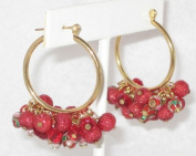 2.5cm Dia. Hook Earring with Red Glass Beads, Facted Beads and Cloisonne Beads