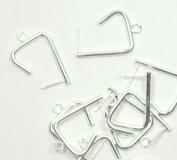 Earring, Silver-plated Steel and Stainless Steel, 27mm 3/4 Triangle with Loop. Sold Per Pkg of 5 Pairs.