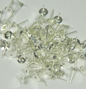 100 Silver-plated Brass 6mm Flat Pad Surgical Steel Post Earring Finding Package of 50 Pair