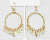 Round Circle Hook Earring with Crystal Rhinestones and Yellow Jade Round Beads